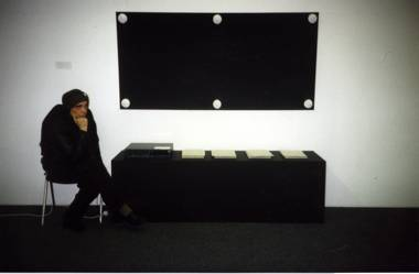Andrei Monastyrski, INSTALLATION WITH THE EXPOSITION BOARD FROM THE OF KD ACTION «THE SCORE» 91